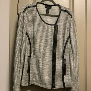 Grey and black jacket with faux leather trim